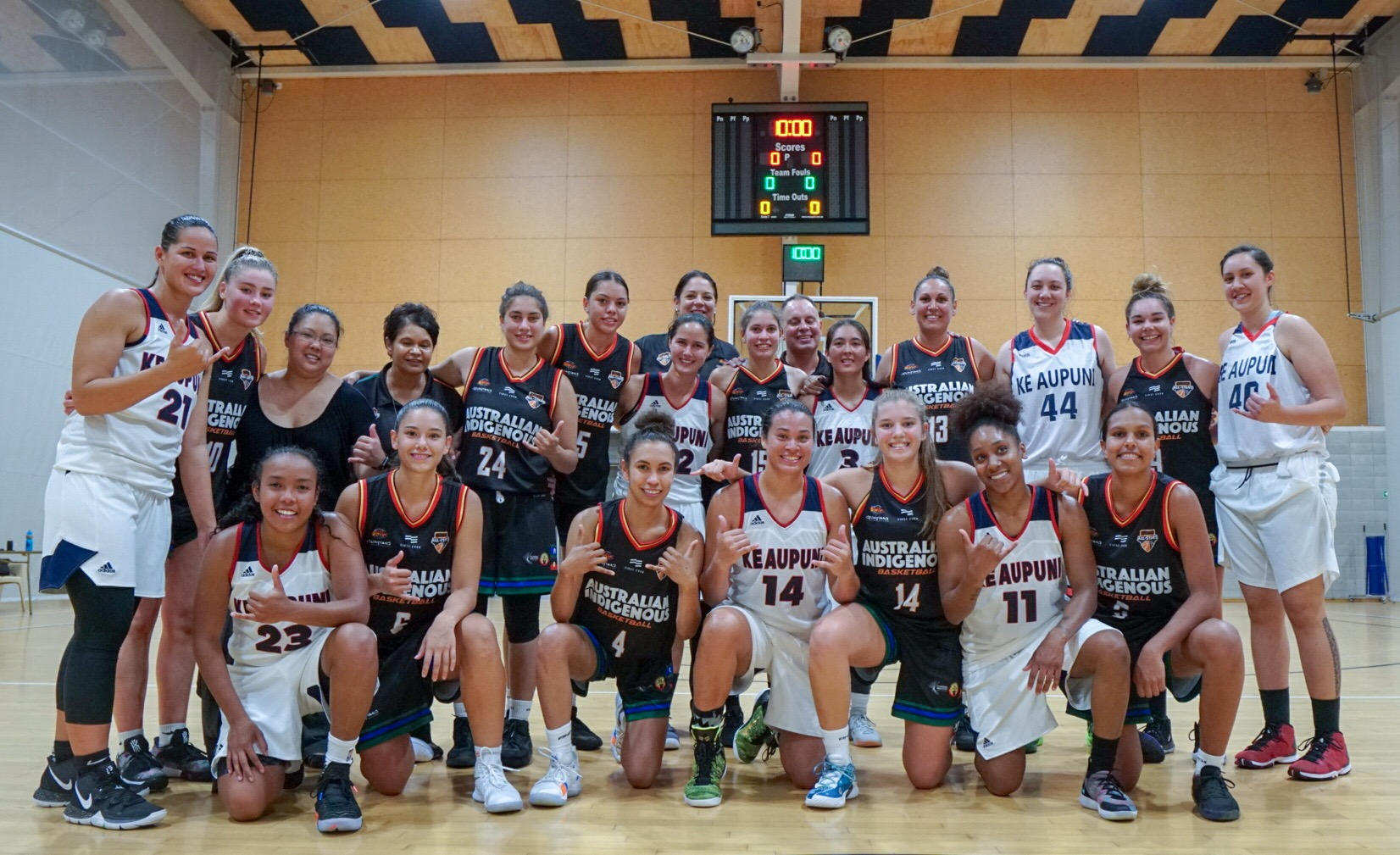 AIB women's national team pose with the Kingdom of Hawai'i women in New Zealand back in March. Picture: Luke Currie-Richardson