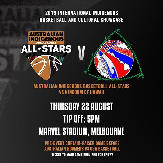 WE'RE MAKING HISTORY! 👣 • The 2019 International Indigenous Basketball & Cultural Showcase will take place on Thursday, August 22 in Melbourne, held as a curtain-raiser event prior to the @basketballaus Boomers vs @usabasketball exhibition basketball game at @marvelstadium.au 🏀 • • #TooDeadly ✌🏽#OneMob ☝🏽