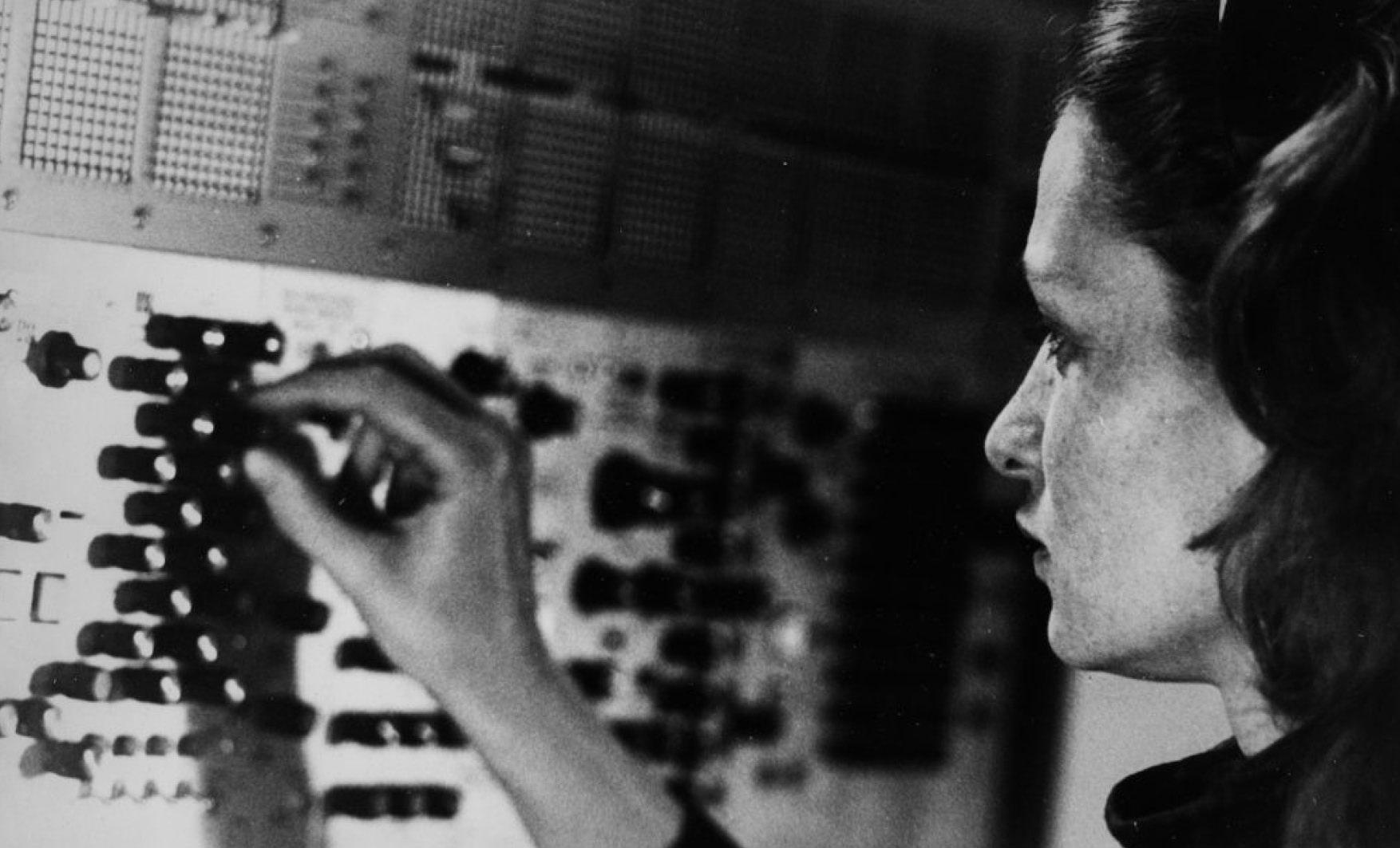 Éliane Radigue in her studio, Paris, ca. 1970s. Photo: Yves Arman
