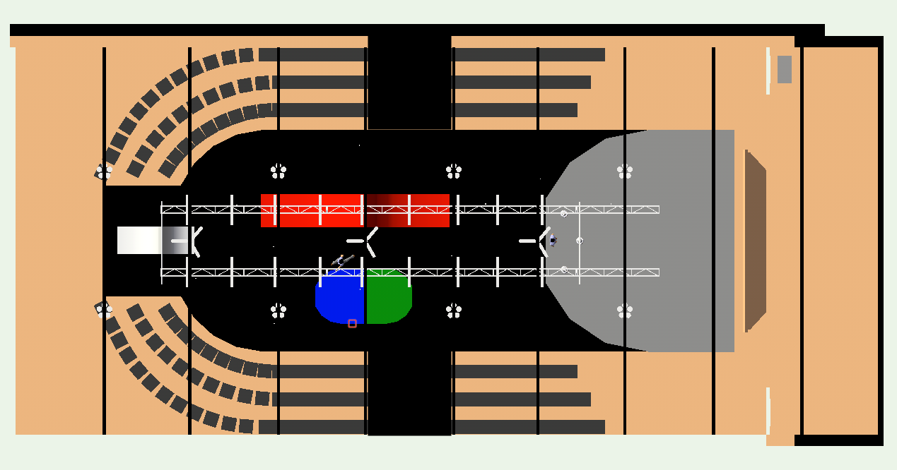 An early stage design mock up, showing the floor space, including 'pens' for the choir on either side.