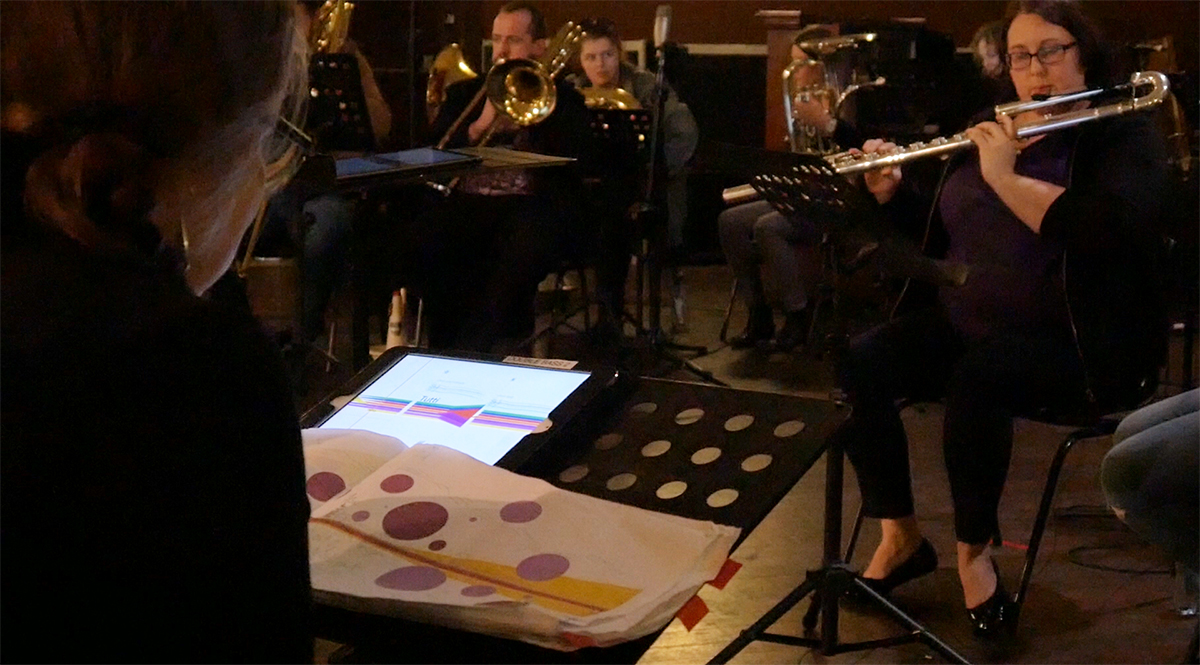 Cat Hope and score for Speechless workshop, photo courtesy Tura New Music