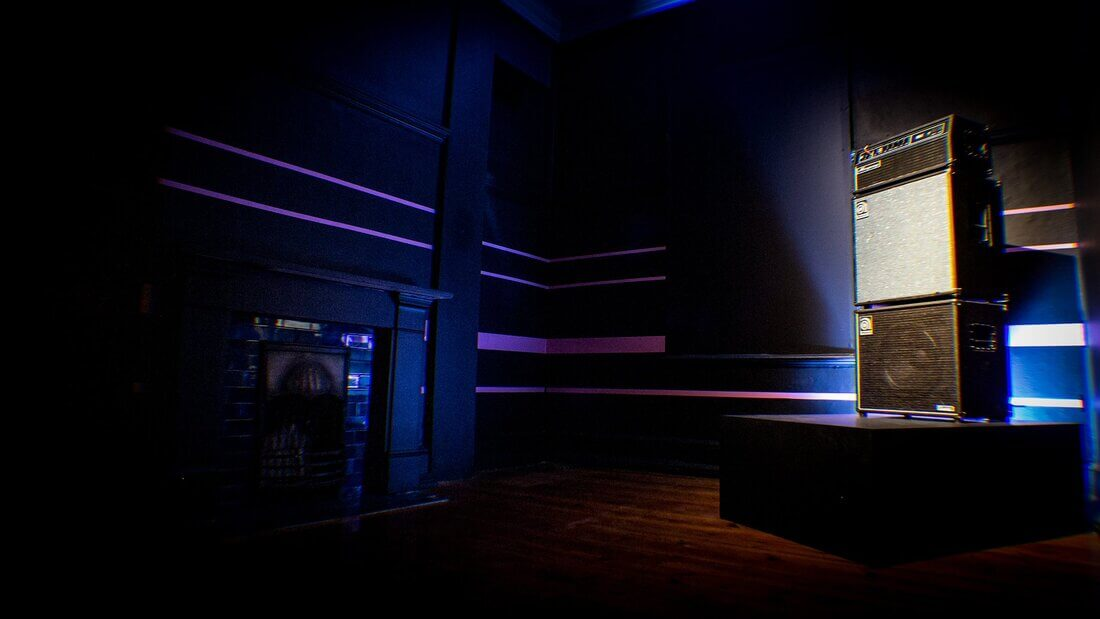 The 'bass room' where all the pink sub tone notation concludes, and the sub part is looped throughout the installation in the bass amplifier