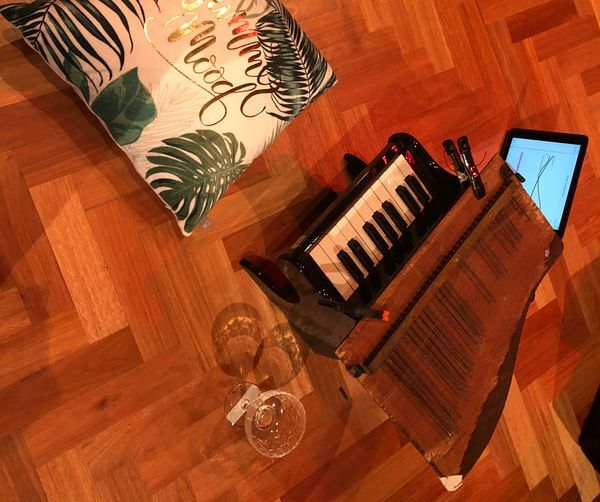 The ruined toy piano and toy piano used in 'Our House is on Fire'