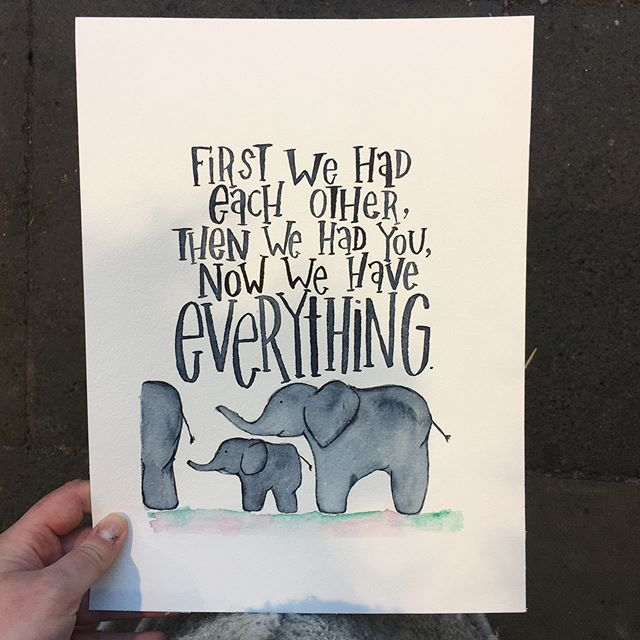 The perfect gift never gets old.☀️ It says 'I see you, I know you, I love you' 🍃  This bespoke beauty was created last month to welcome a newborn into the world ☀️ To talk about creating the perfect gift for someone you love, message me now 🌱  P.s thumbs up for elephant babes! 👍😍 🐘🐘🐘🐘🐘🐘🐘🐘🐘