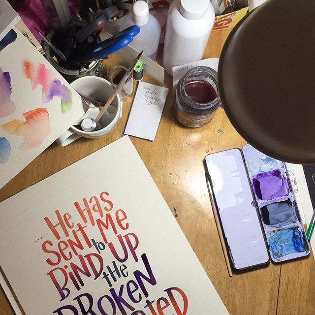 Late night desk. Working on a special one. Time for bed. #artistdesk #bibleart