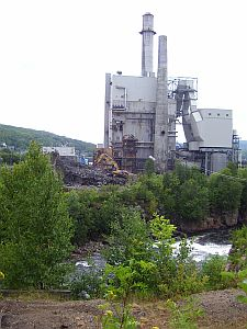 Paper mills were typical features in the vast forested areas of New England for many years. Yet many have closed down recently. This one in Berlin, NH was dismantled a few years ago.