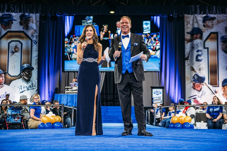 Rex Hudler co-hosts the Royals Runway event with Rachel Santschi.