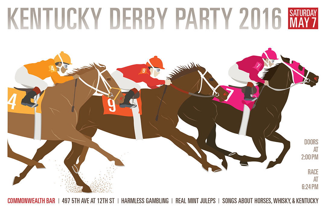 Design and illustration for 2016 Derby Party poster for Commonwealth Bar in Brooklyn