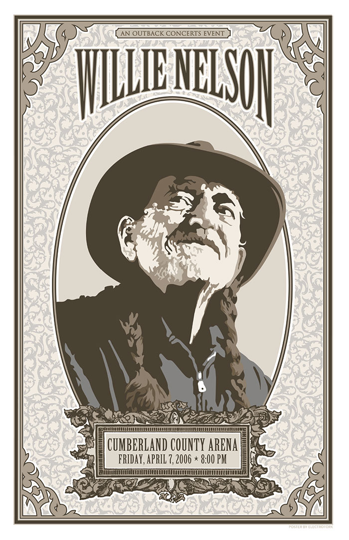 Design and illustration for Willie Nelson poster for Outback Concerts