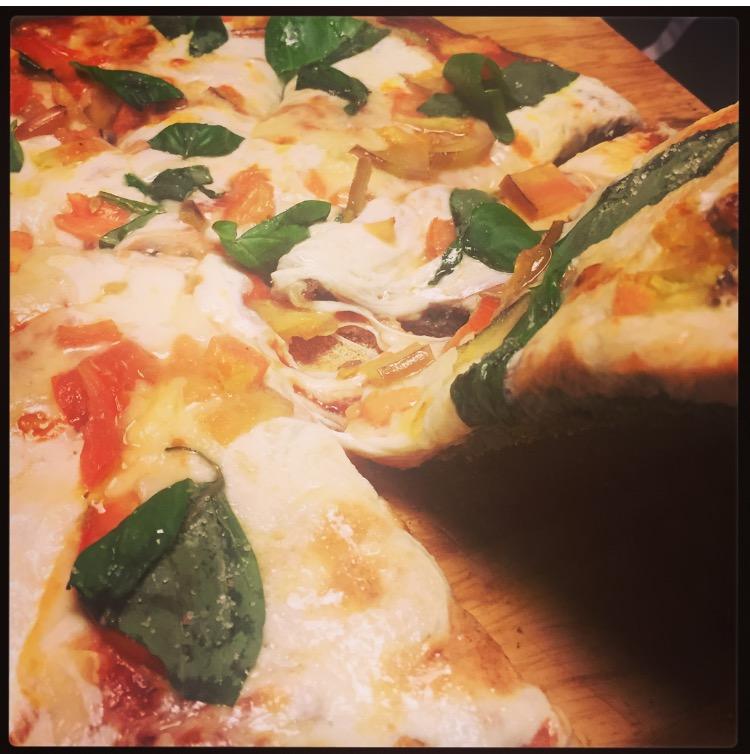 """- (makes 2 8"""" pizzas)Flour 260g all purpose flour60g sun mealWater 180 mlSalt 0.75 tspSugar 1 tbspOlive oil 3 tbspYeast 6 g"""