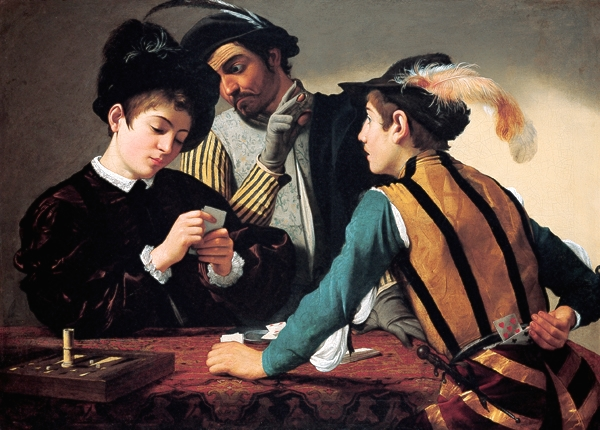 Card Sharks  by Caravaggio at the Louvre, Paris