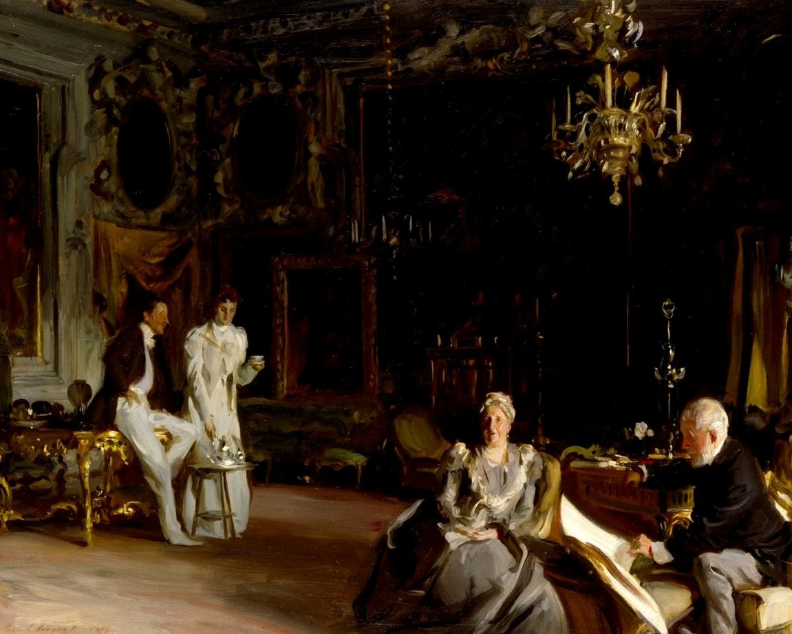 The Curtis family at the Palazzo Barbaro in Venice  - An Interior in Venice  by John Singer Sargent, Royal Academy, London