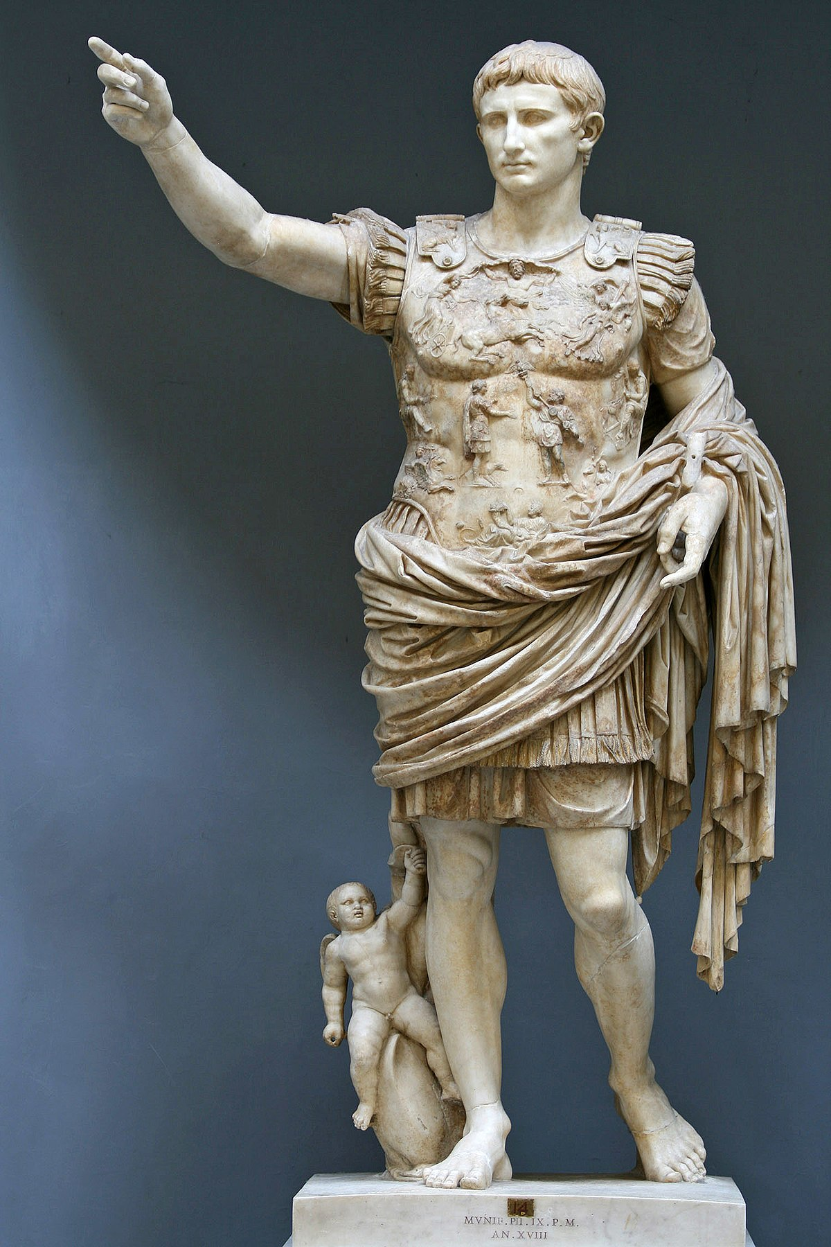Augustus, the first emperor of the Roman Empire, reigning from 27 BC until his death in AD 14