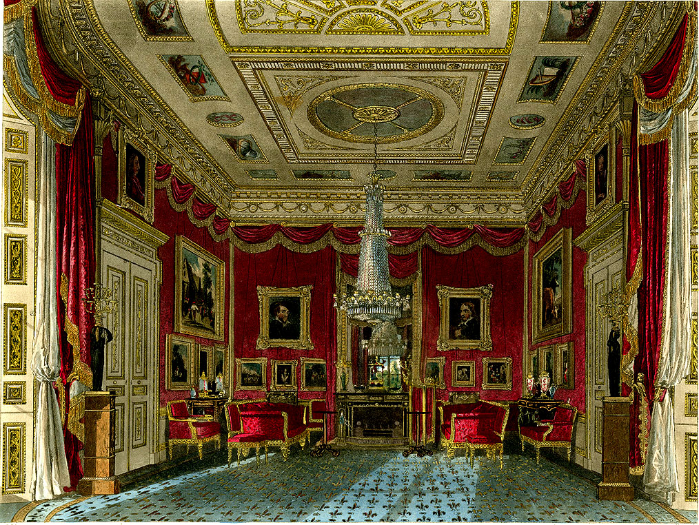 A view of the Rose Satin Drawing Room at Carlton House in London