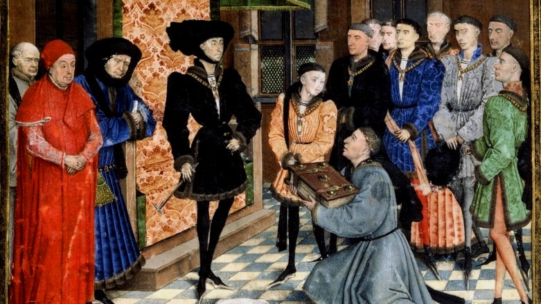 La corte di Filippo il Buono in Borgogna, miniatura di Rogier van der Weyden