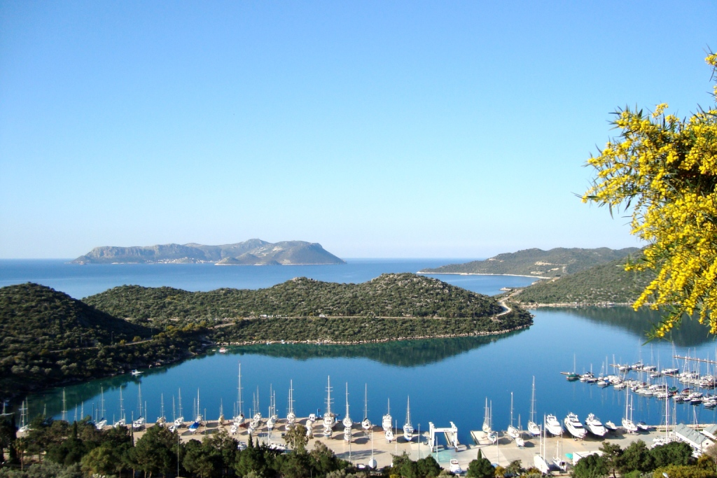 View of the isalnd of Kastellorizo from the coast of Asia Minor, Turkey