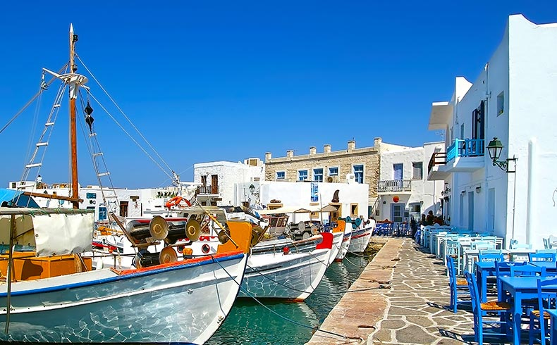 The picturesque harbour of Naoussa in Paros, Cyclades
