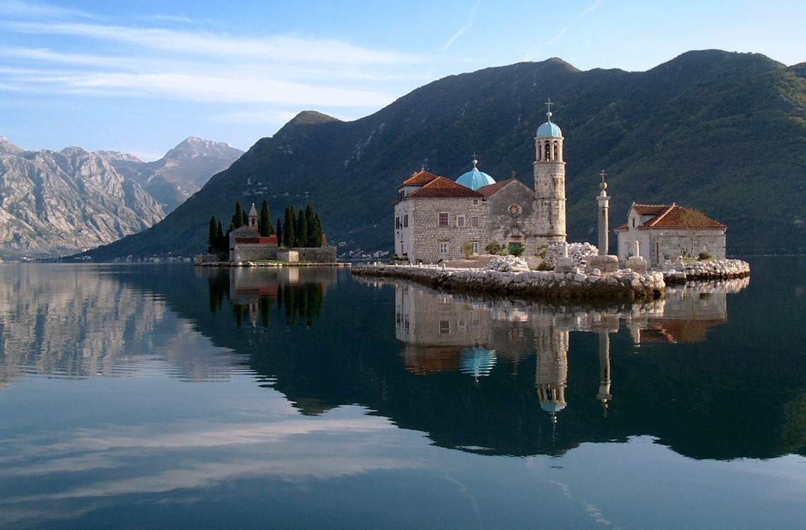 Charming islets in the fjord of Montenegro