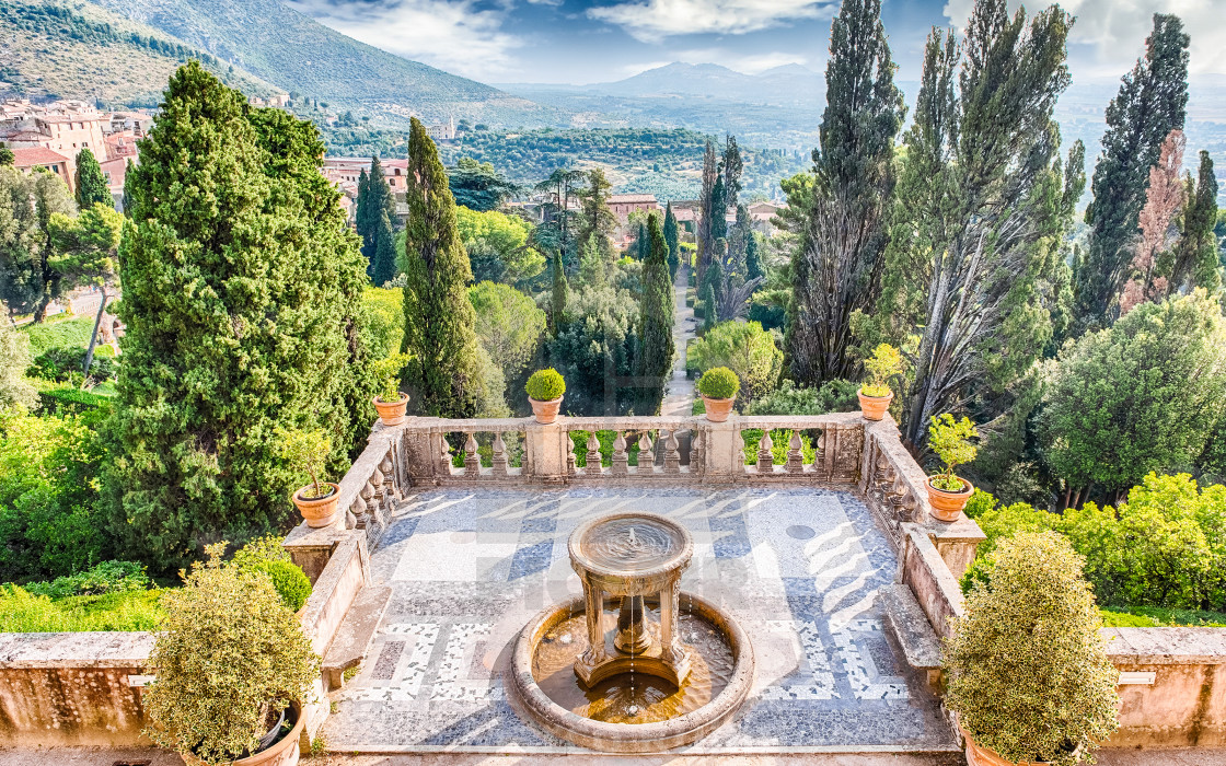 The terraced gardens in the Villa d'Este, Tivoli, Rome