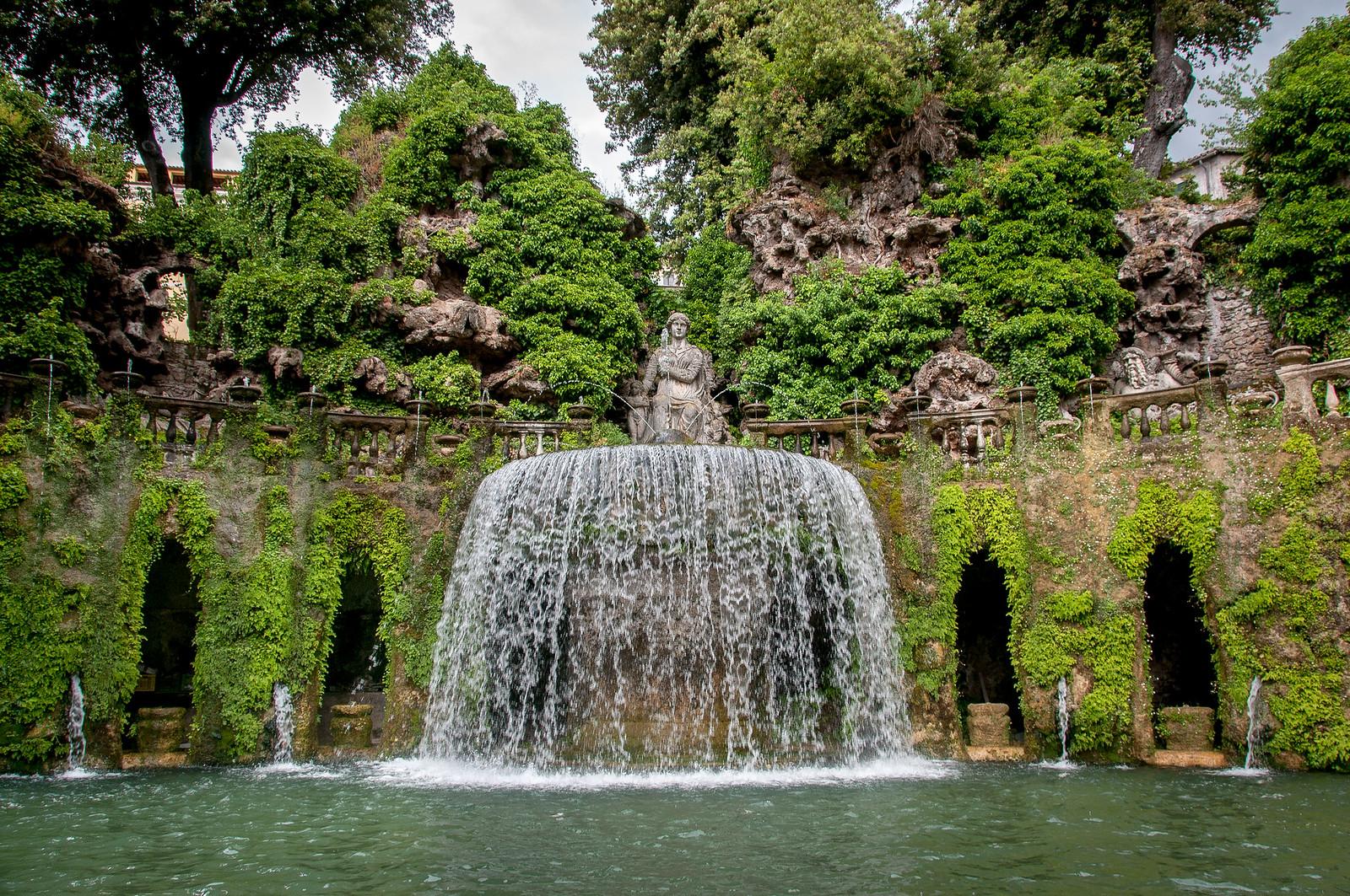 The Oval Fountain in the gardens of the Villa d'Este in Tivoli, Rome