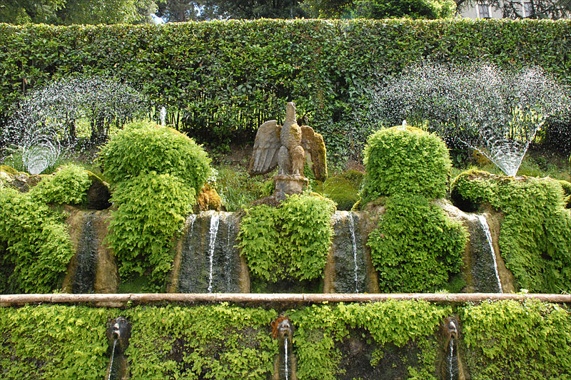 A d'Este eagle among the spouts in the Hundred Fountains in the gardens of the Villa d'Este, Rome