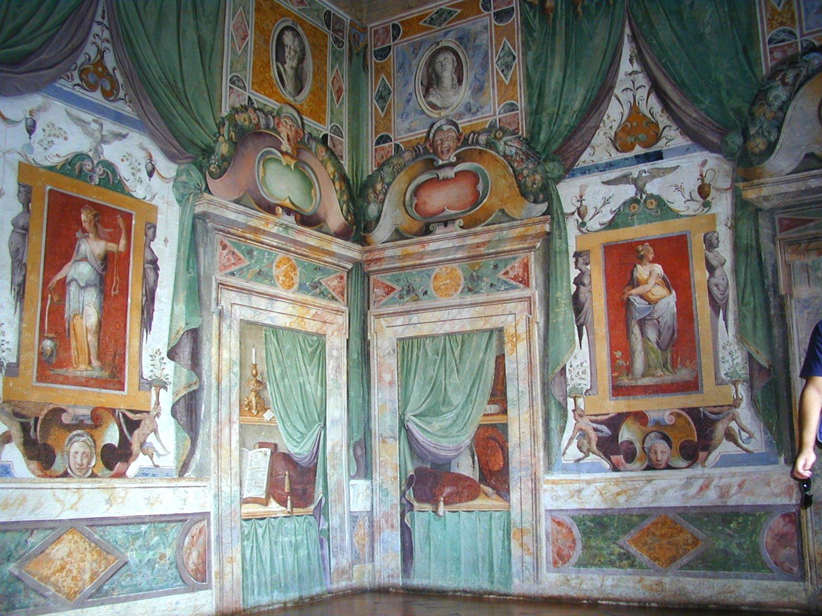 Renaissance frescoes inside the Villa d'Este, Tivoli, Rome