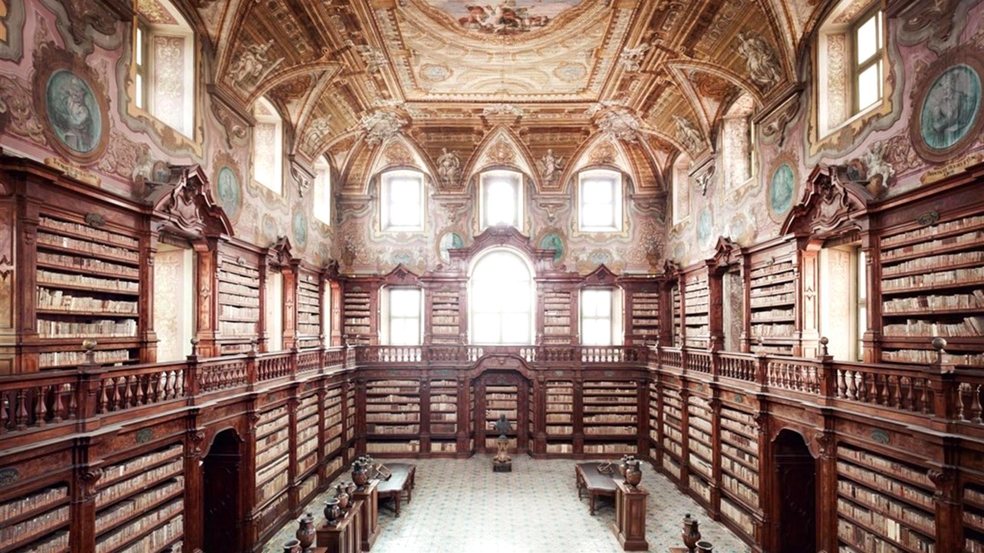 One of most beautiful libraries in the world, the Biblioteca Oratoriana dei Girolamini, Naples