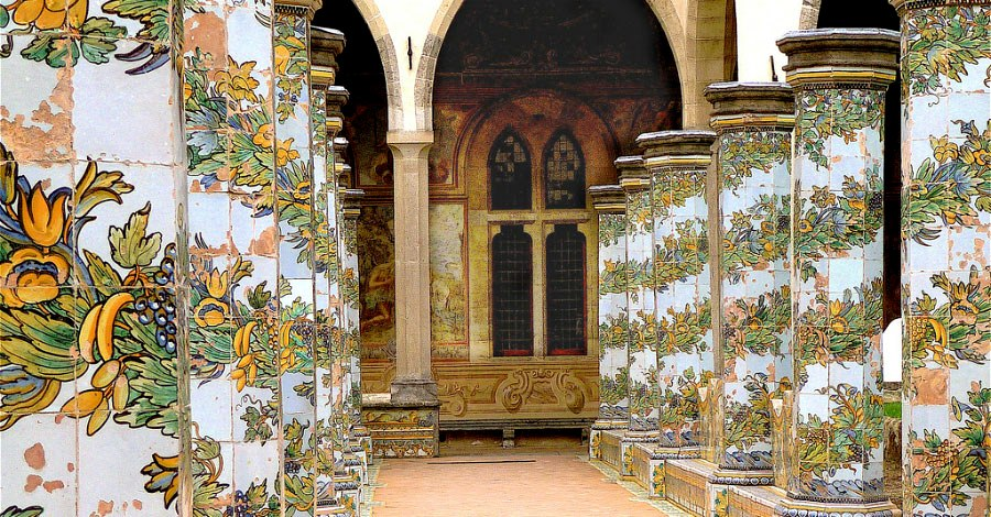 The cloister of Santa Chiara in Naples, richly decorated with majolica tiles