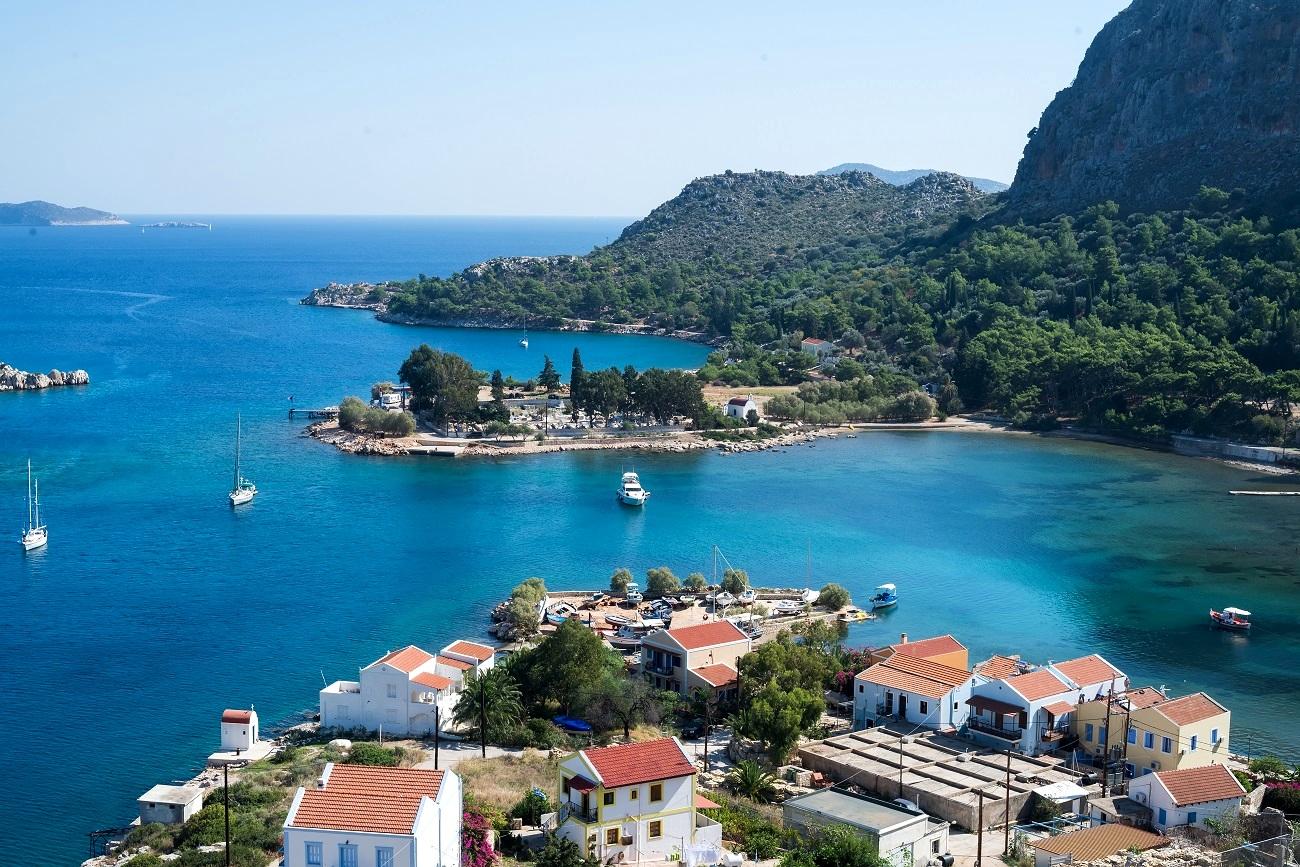 Vista panoramica di Castellorizo nel Dodecaneso, Grecia
