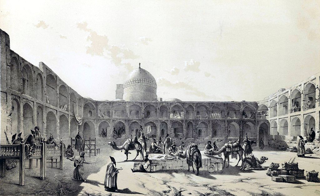 Caravanserai of Qazvin by Eugène Flandin in Persia