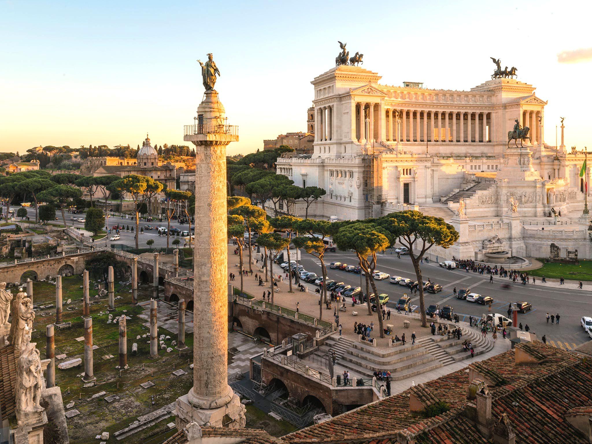 The Trajan's Column and the Vittorio Emanuele Monument on Piazza Venezia