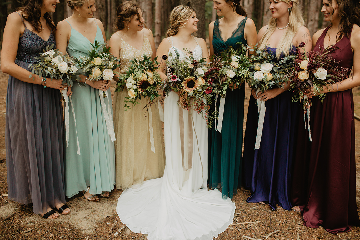 bridesmaids-wedding-woods