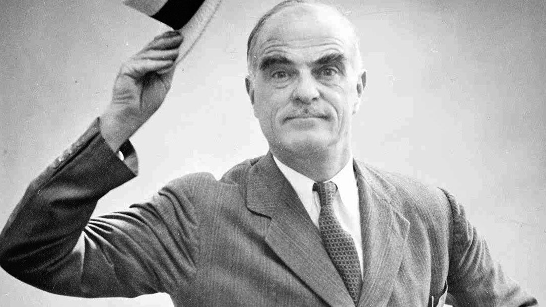 THORNTON WILDER PLAYING MR. ANTROBUS IN A PRODUCTION OF THE SKIN OF OUR TEETH IN SUMMER STOCK, 1947