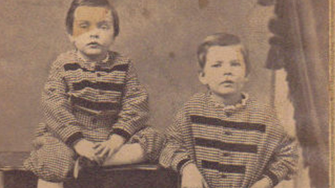 THORNTON'S FATHER, AMOS PARKER WILDER, AND HIS UNCLE, JULIAN WILDER (YOUNGER), ABOUT 1867. PICTURE TAKEN IN CALAIS, MAINE, WHERE AMOS PARKER WAS BORN.