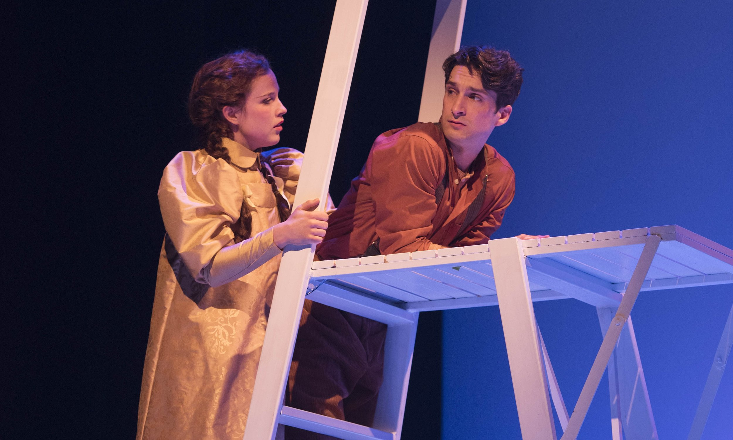 Tess Benger as Rebecca Gibbs and Charlie Gallant as George Gibbs in Our Town. Photo by David Cooper.