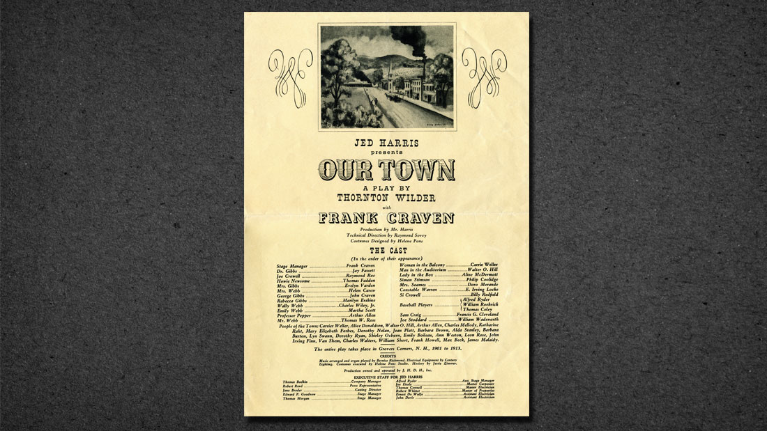 CAST PAGE FROM BROADWAY PREMIERE OF OUR TOWN