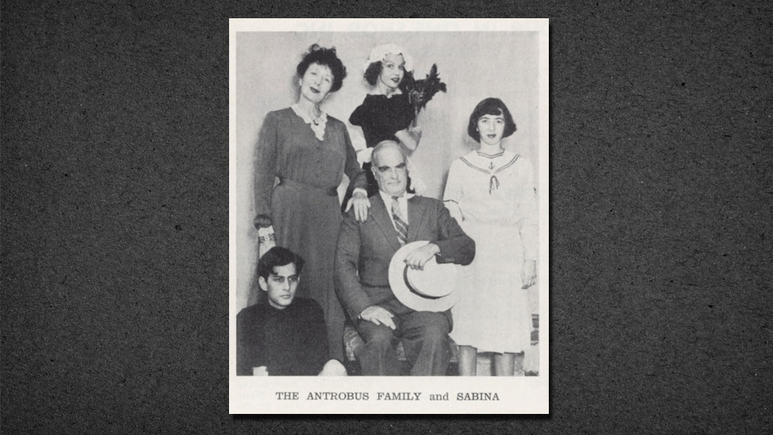 THORNTON WILDER AS MR. ANTROBUS IN THE AUGUST 16-21, 1948, WESTPORT COUNTRY PLAYHOUSE PRODUCTION OF THE SKIN OF OUR TEETH, WITH ARMINA MARSHALL AS MRS. ANTROBUS AND BETTY FIELD AS SABINA. COURTESY OF THE PLAYHOUSE