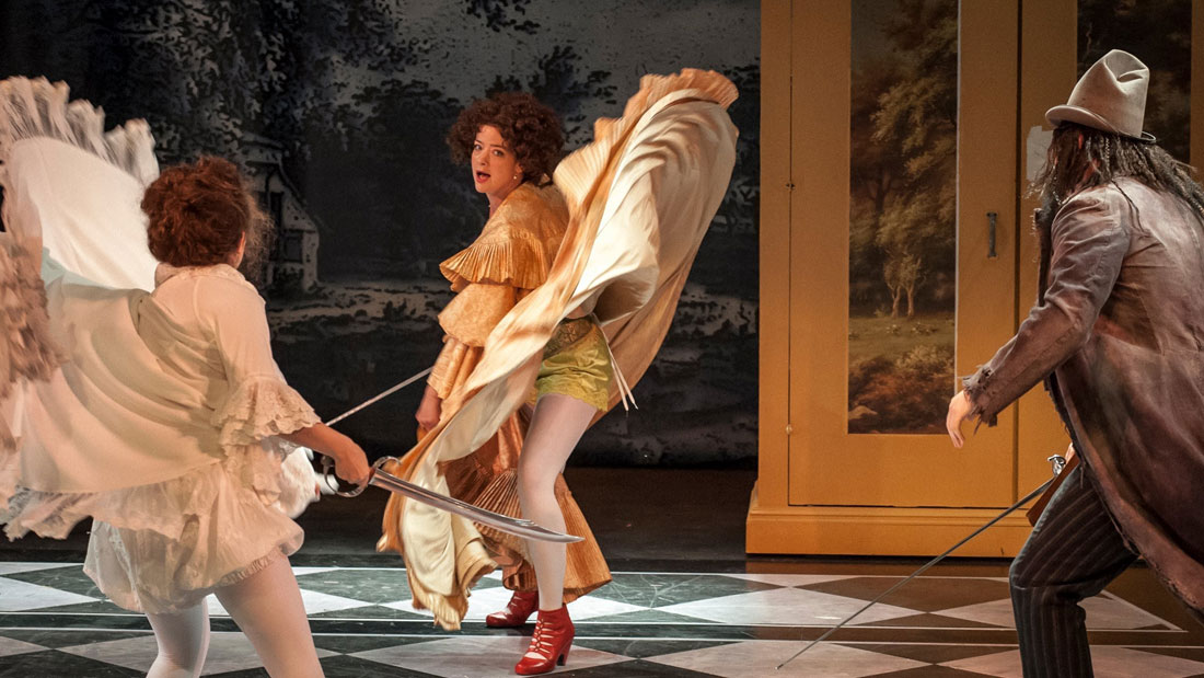 KATIE O. SOLOMON AND MEGAN ANDERSON IN EVERYMAN THEATRE'S PRODUCTION OF THE BEAUX' STRATAGEM
