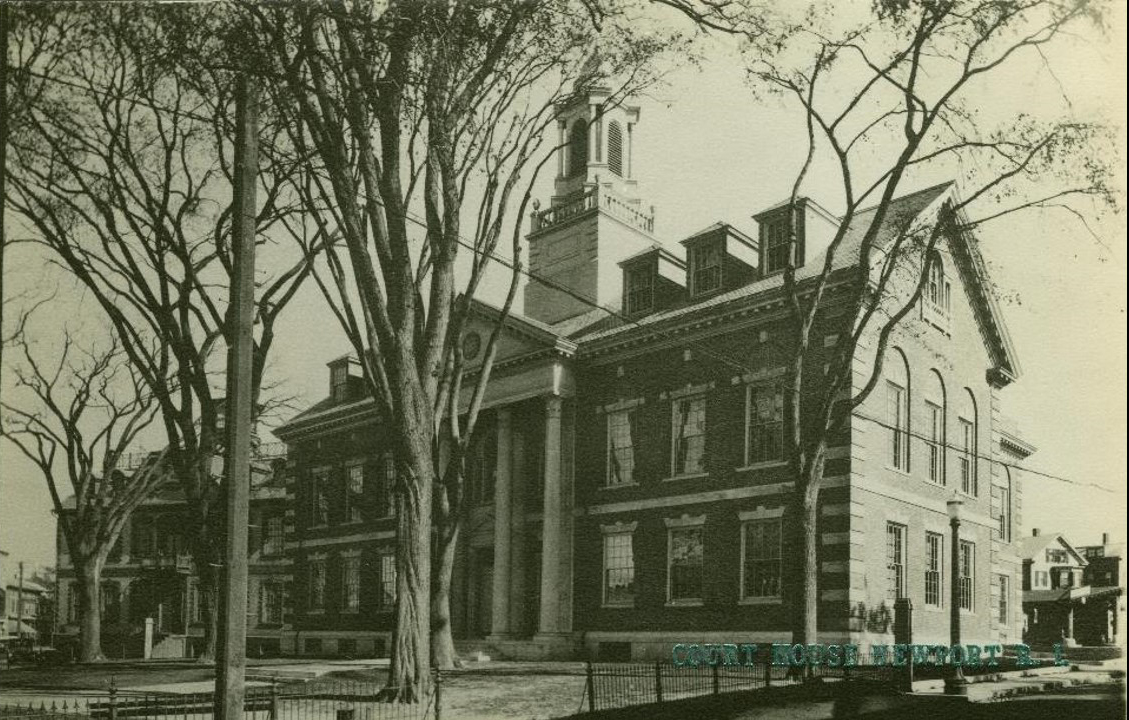 """View of the Court House, which was being built in 1926 when Theophilus rides into town in 1926. While stationed in Newport in 1919, there would have been a large 1835 """"mansion"""", the Levi Gale, designed by Russell Warren. This house was moved in 1925/26 to make way for the court."""