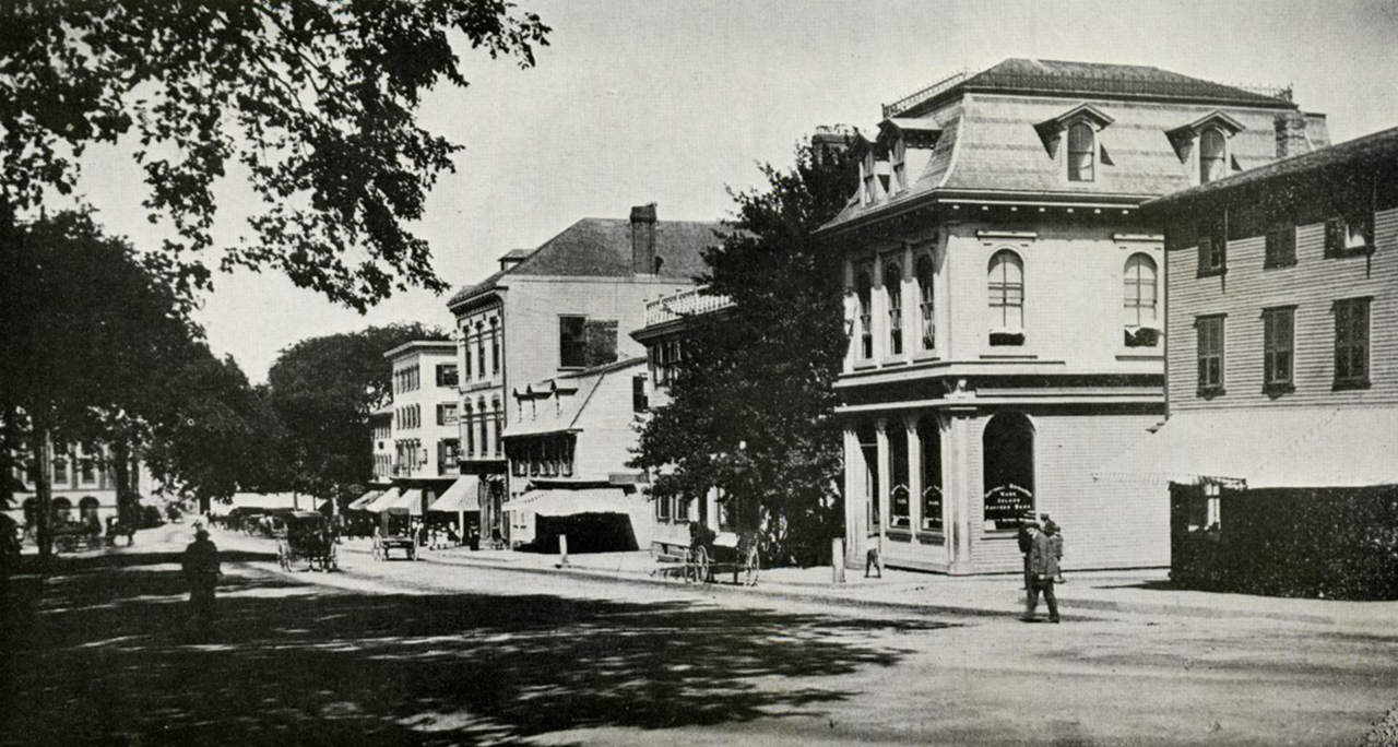 An older view looking west down Washington Square (c. 1880's) from the foot of the Colony House. Although some of the buildings would have been there in 1919 when Theophilus was in Newport, much had changed by 1926 in this largely business area.