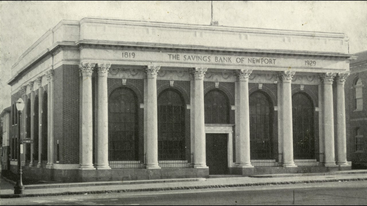 The Savings Bank of Newport, which was under construction when Theophilus rode into town.