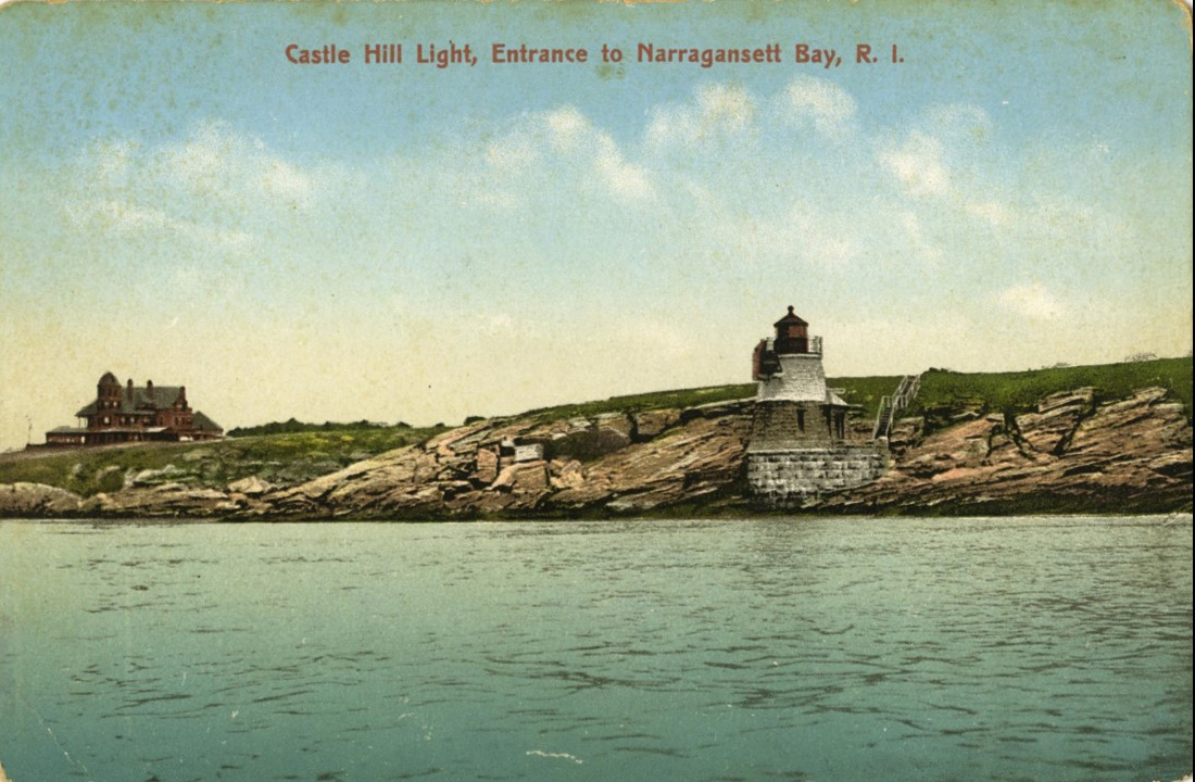 """This image shows """"Castle Hill"""", the house of naturalist, oceanographer, and zoologist Alexander Agassiz of Harvard University – built in 1875, and the Castle Hill light (1890). Castle Hill light and the Agassiz house is mentioned a number of times in the book."""