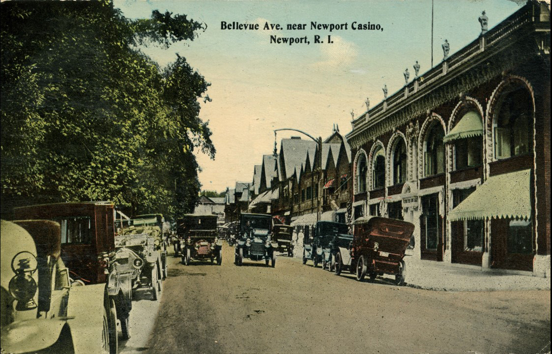 Looking north up Bellevue Avenue from in front of the Ocean House (now Stop & Shop) property. On the right is the Audrain Building, King Block, and Newport Casino where Theophilus taught tennis.