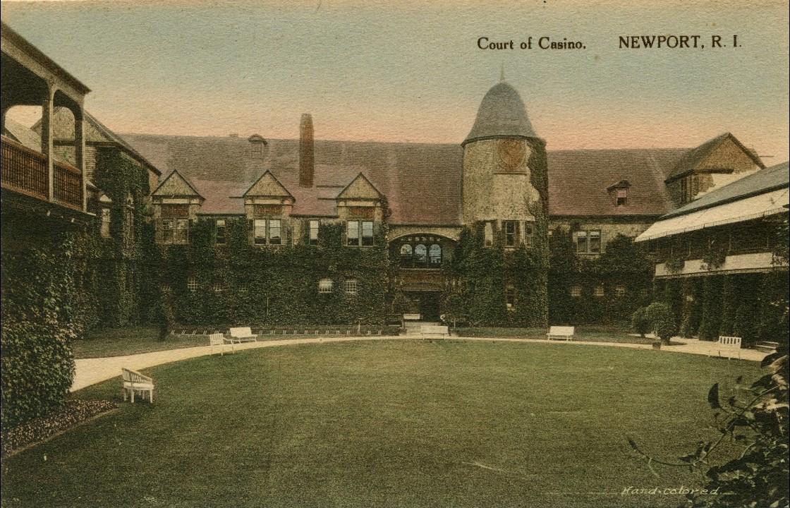 The original grass tennis court of the Newport Casino in a c. late 1890's.