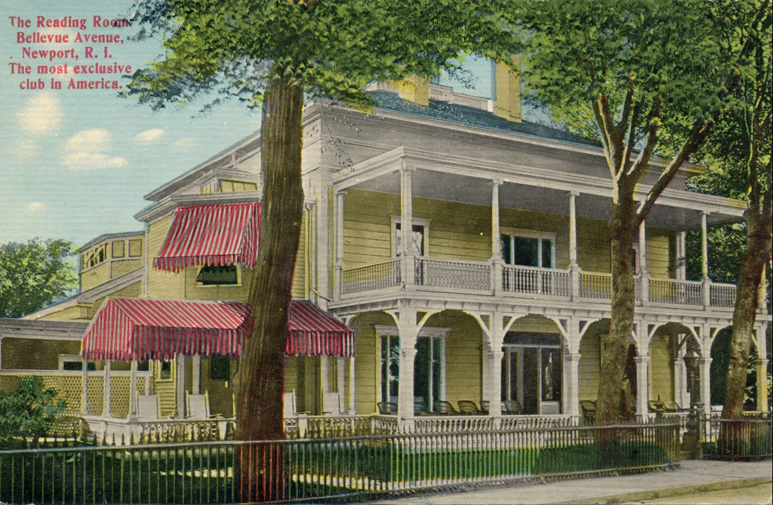 Across Church Street from the Viking, and directly across Bellevue Avenue from the MK (Muenchinger-King), is the Newport Reading Room. This is still a private, exclusive club for members of the 6th city.