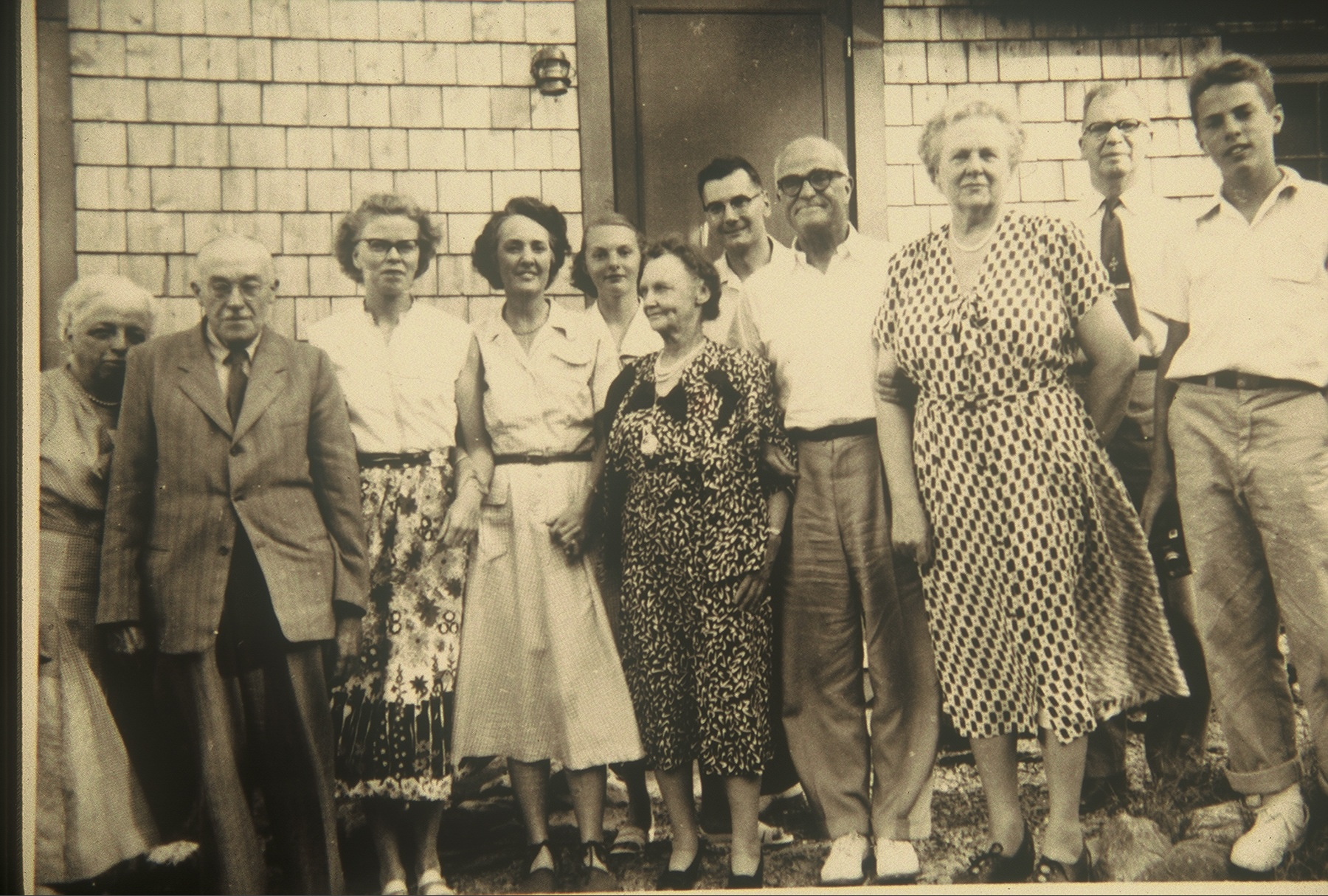 A gathering of Wilders in Blue Hill circa 1949: left to right, Margaret Todd & Charles Todd, Elaine Wilder LeClair, Catharine K. Wilder (Mrs. Amos N.) Catharine Wilder, Emma McCully, Ray LeClair, Thornton Wilder, Gertrude & Max Wilder and Tappan Wilder