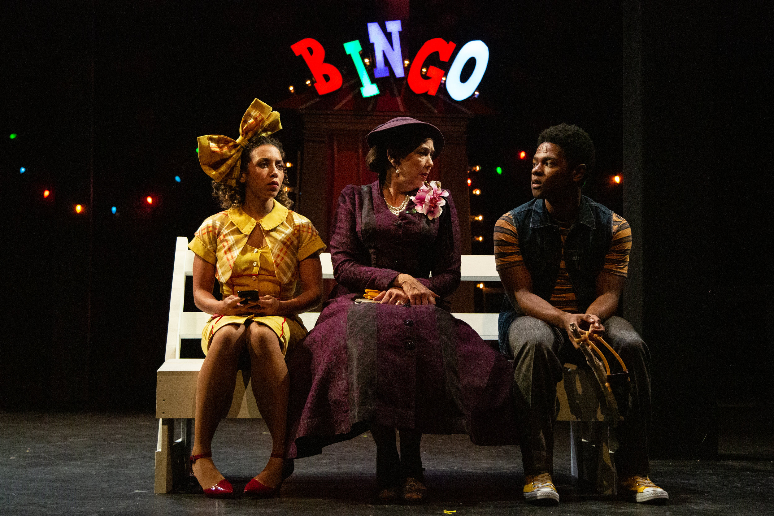 Claire Saunders, Harriet Harris and Marcus Gladney, Jr. in Berkshire Theater Group's production of The Skin of Our Teeth, 2019 (photo by Emma K. Rothenberg Ware)