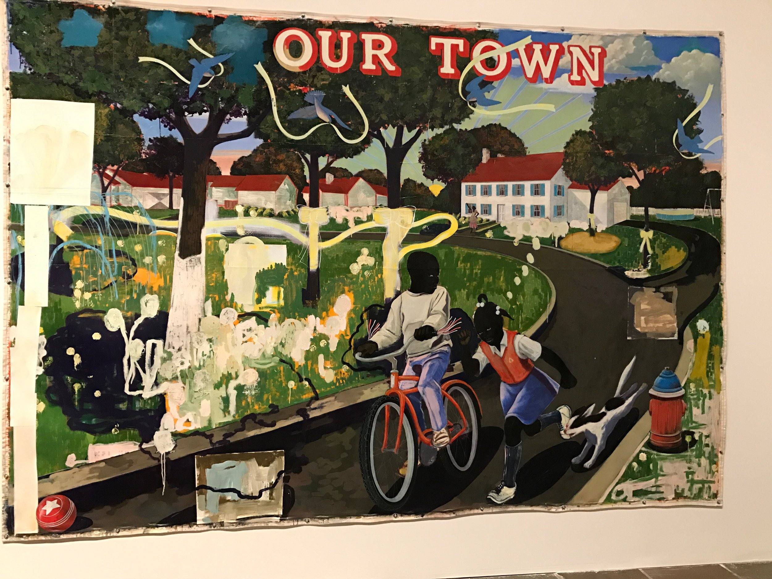 Our Town (1995) by Kerry James Marshall, as seen in The Met Breuer's exhibition  Mastry  (October 25, 2016 - January 29, 2017)