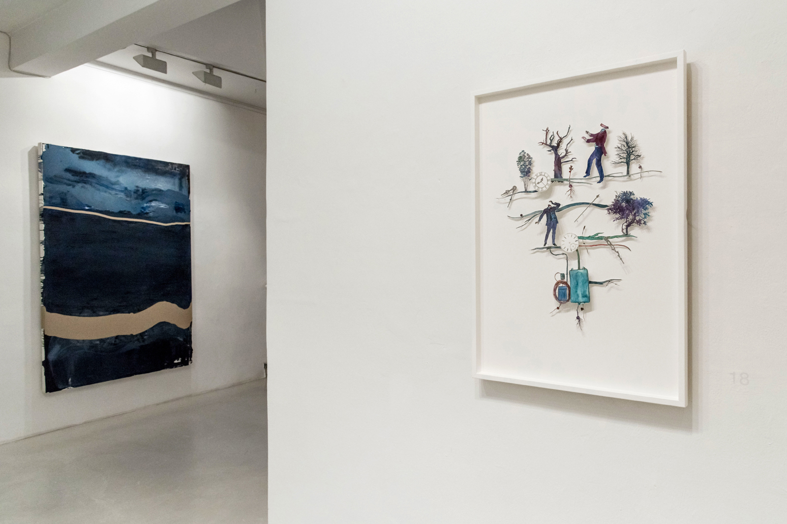 INSTALLATION VIEW, GALLERY OF THE CITY OF VILLACH / GALLERY FREIHAUSGASSE, autumn 2018 - additional painting by  David Holzinger