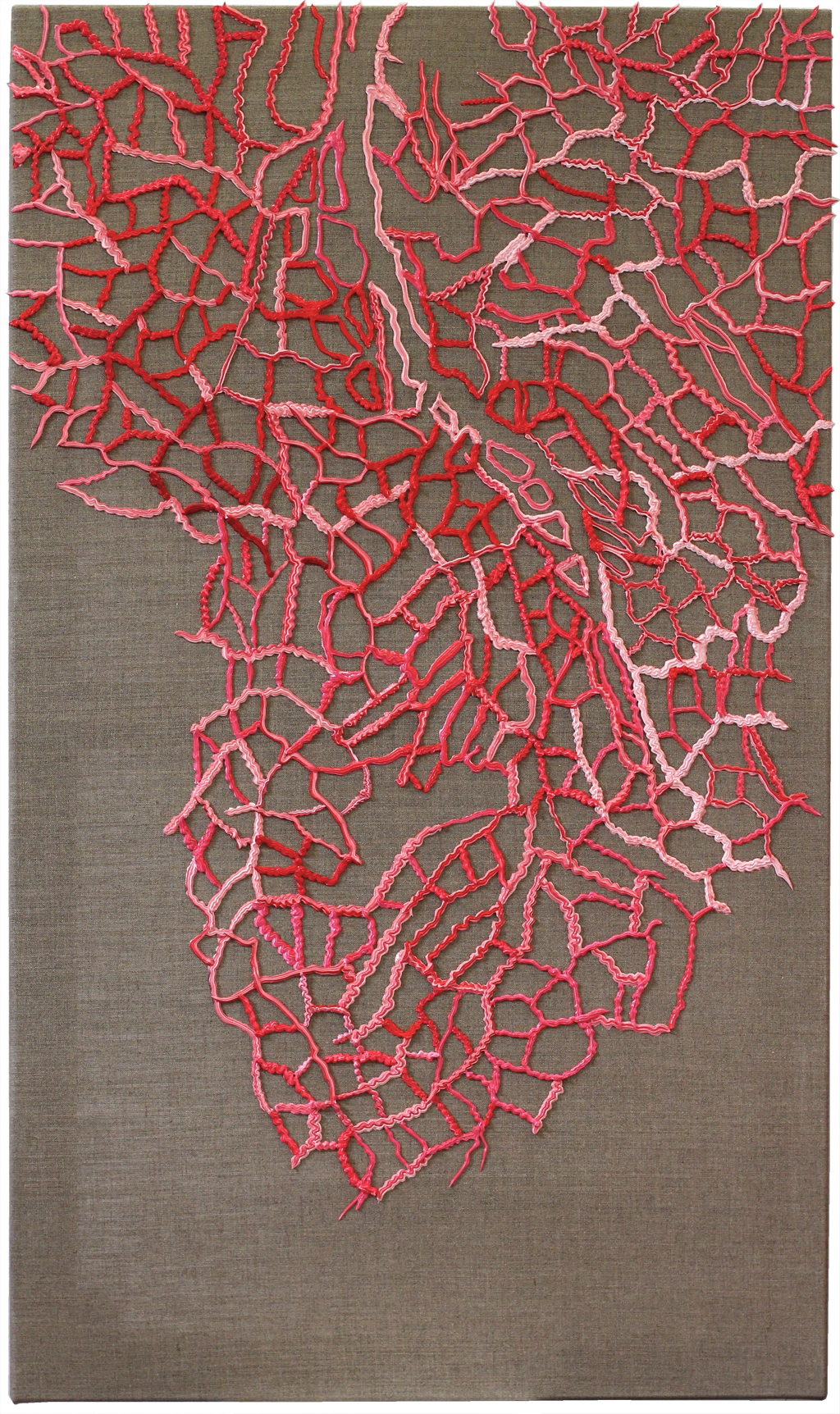 CORAL CRITIQUE - II acrylics, spray-paint, resin dispersion, mineral fillers and pigment on canvas 70 x 120 cm, 2019